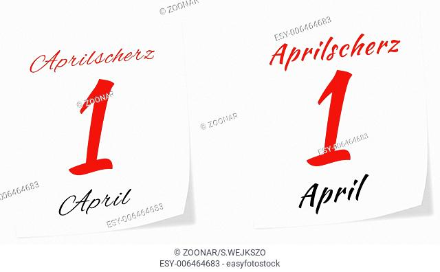 Calendar page with date of All Fool's Day on 1 st April 2014 isolated on a white backgroun