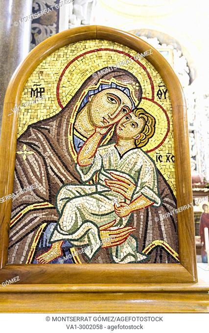 Byzantine mosaic of Church of Martorana. Palermo, Sicily. Italy
