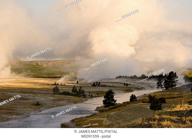 Steam rises from inside the earth into the cold morning air along Yellowstone Park's Firehole River