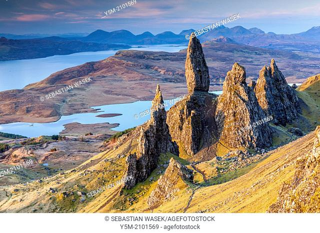 The Old Man of Storr, overlooking Loch Leathan and Sound of Raasay, Isle of Skye, Inner Hebrides, Scotland, UK, Europe