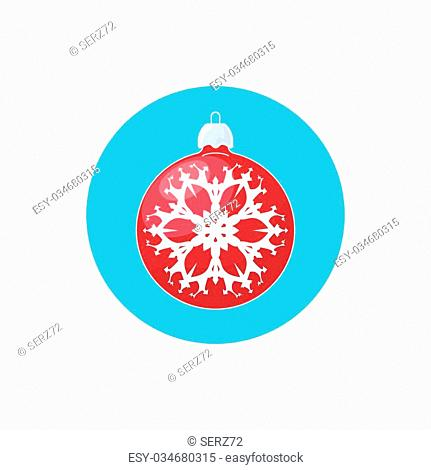 Colorful Icon Christmas Ball with Snowflake , Colorful Icon Red Ball , Icon Christmas Tree Decoration,Merry Christmas and Happy New Year, Vector Illustration