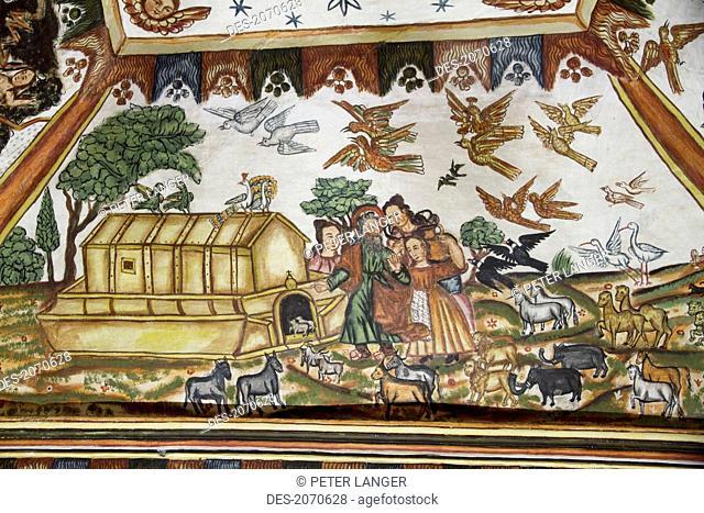 Noah's Ark Illustrated By Baroque-Mestizo Frescos Dating To The 17Th Century In The Baptistery Of Santiago De Curahuara De Carangas Church
