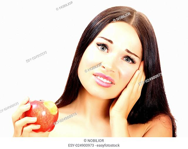 Young woman with a toothpain, white background, copyspace