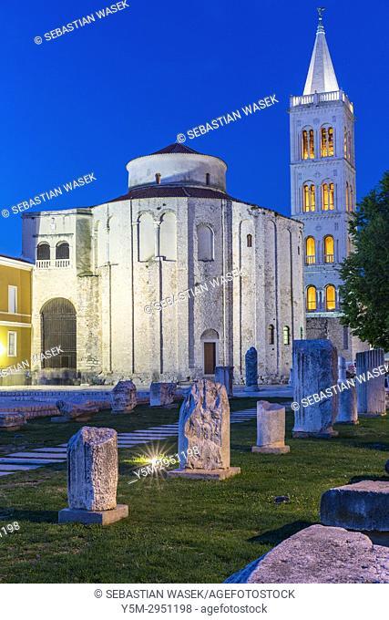 St. Donatus Church and St. Anastasia Cathedral bell tower, Zadar, Dalmatia, Croatia, Europe
