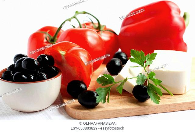 Tomatoes, olives, peppers, feta cheese