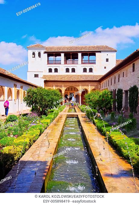 Patio de la Acequia of Generalife Palace in Alhambra, Granada, Andalusia, Spain