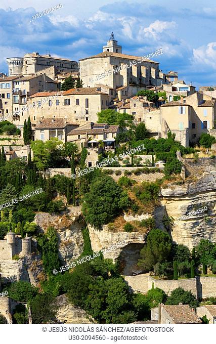 Overview of Gordes village, labeled The Most Beautiful Villages of France, Vaucluse department, Provence-Alpes-Cote d'Azur region. France