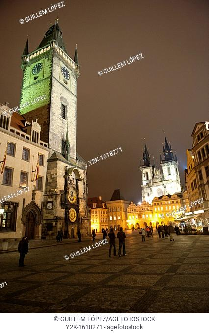 View of the old town Square of Prague by night, Stare Mesto, Czech Republic