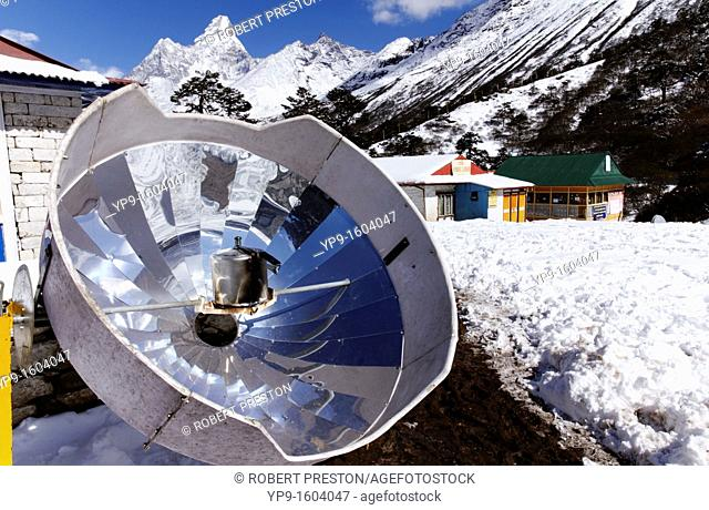 Solar powered cooker used at a teahouse at Tengboche, Everest Region, Nepal