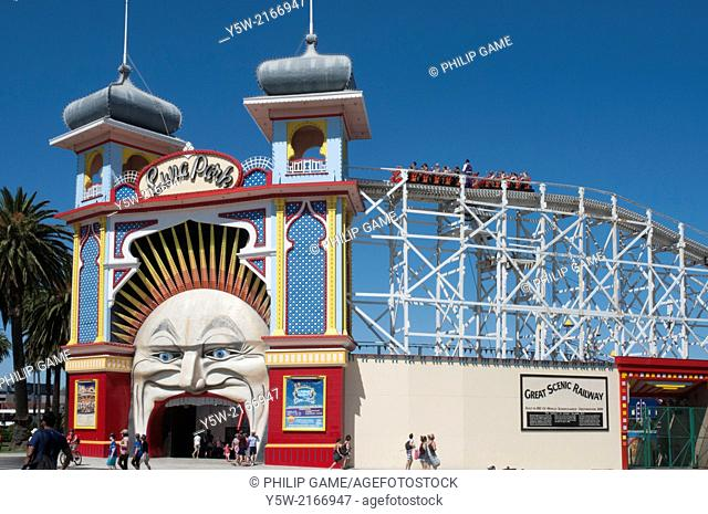 Great Scenic Railway atop Luna Park at St Kilda, Victoria, Australia