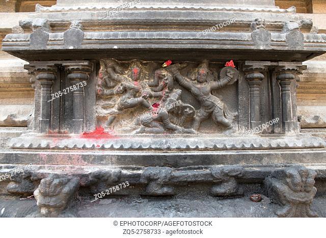 Durga slaying the demon, north wall, Subrahmanyam shrine, Brihadisvara Temple complex, Tanjore, Tamil Nadu, India