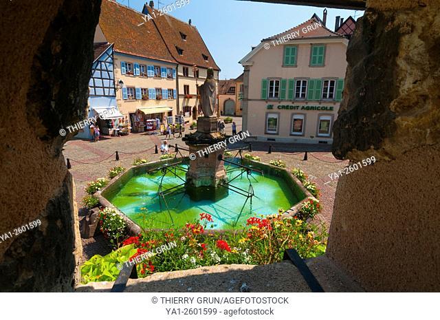 France, Haut Rhin (68), Eguisheim village (elected most beautiful french village), square Saint Leon