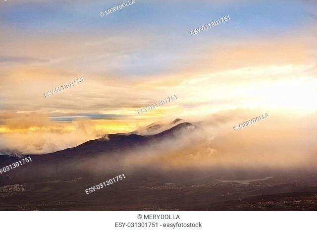 Autumn foggy landscape