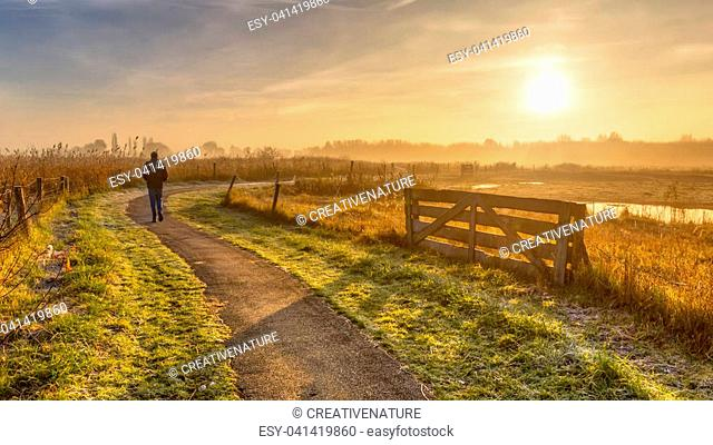 Walking track in misty agricultural polder landscape with pedestrian in distance near Groningen, Netherlands