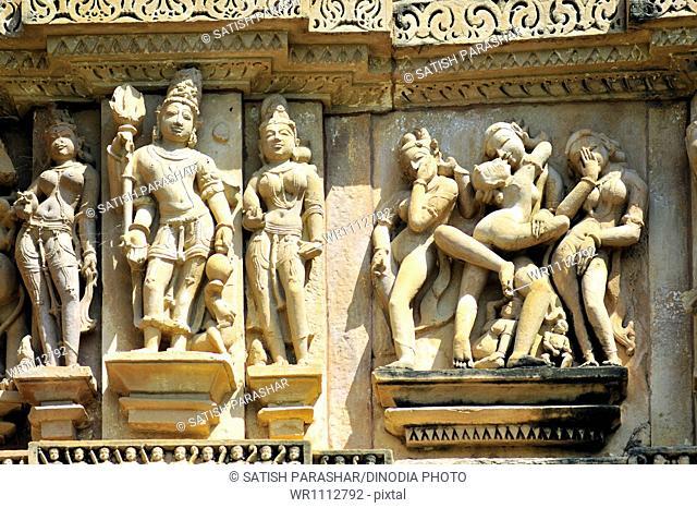 Mithuna couples on wall of vishvanath temple Khajuraho madhya pradesh india