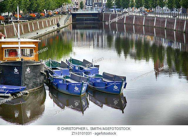 Boats on the canal at Breda, the Netherlands