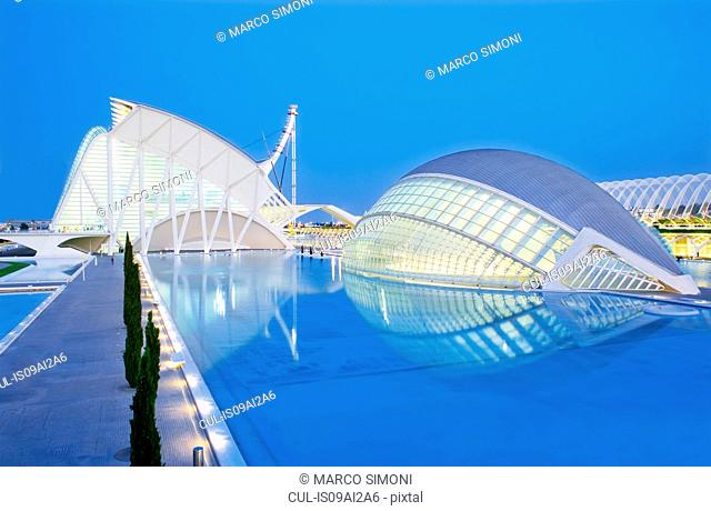 Dusk at City of Arts and Sciences, Valencia, Spain