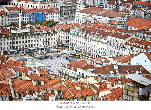 Praça there Figueira, square in city centre, view from above, Lisbon, Portugal