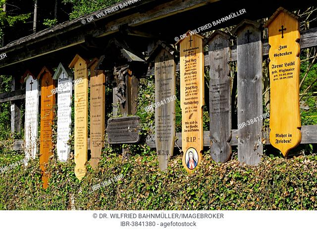 Tomb boards at the pilgrimage church of St. Hermann, also known as Brunnenkapelle chapel, St. Hermann, Bischofsmais, Bavarian Forest, Bavaria, Lower Bavaria