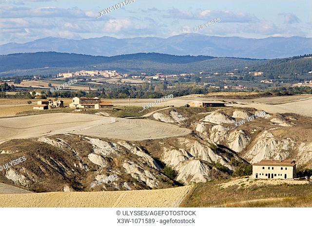 europe, italy, tuscany, siena, crete senesi, landscape