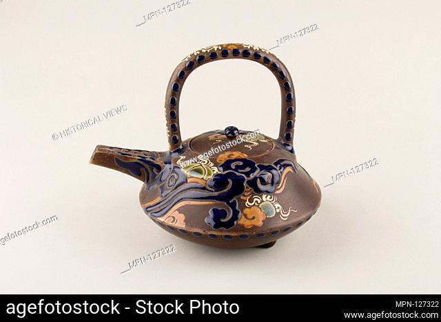Wine pot. Artist: Rakutozan (Japanese,); Period: Edo period (1615-1868); Date: 1780; Culture: Japan; Medium: Faience decorated in enamels in relief (Kyoto...