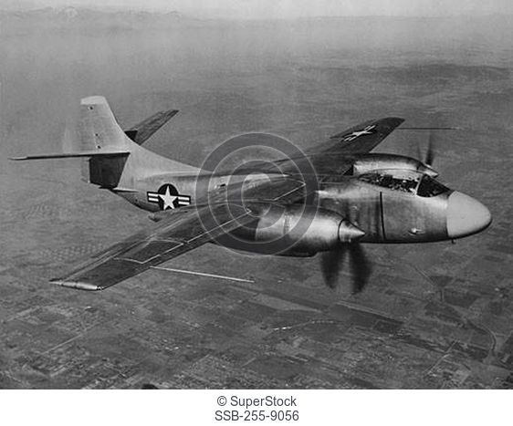 Military airplane in flight