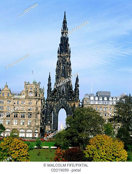 Scott Monument and Princes Street. Edinburgh. Scotland