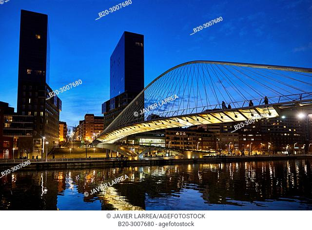 Zubizuri bridge by Santiago Calatrava and Isozaki Atea Towers, Bilbao, Bizkaia, Basque Country, Spain, Europe