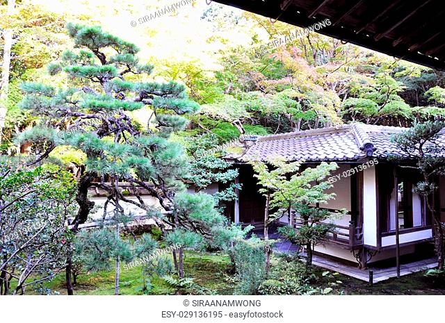 Japanese garden in the temple, Koto-in a sub-temple of Daitoku-ji - Kyoto, Japan