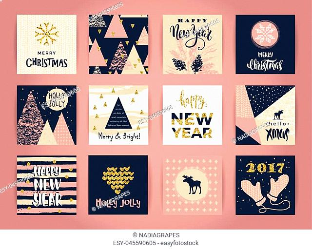 Set of artistic creative Merry Christmas and New Year cards. Hand Drawn textures and brush lettering. Design for poster, card, invitation, placard, brochure