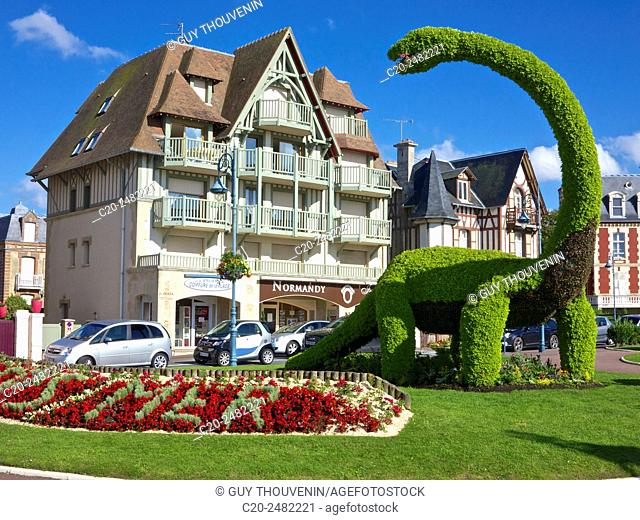 Box tree dinosaur , main square,Villers sur Mer, 14, Calvados, Normandy, France