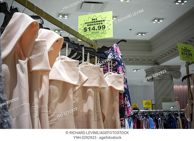 New York,NY/USA-December 15, 2018 Clearance dresses in the Lord & Taylor department store in New York on Saturday, December 15, 2018