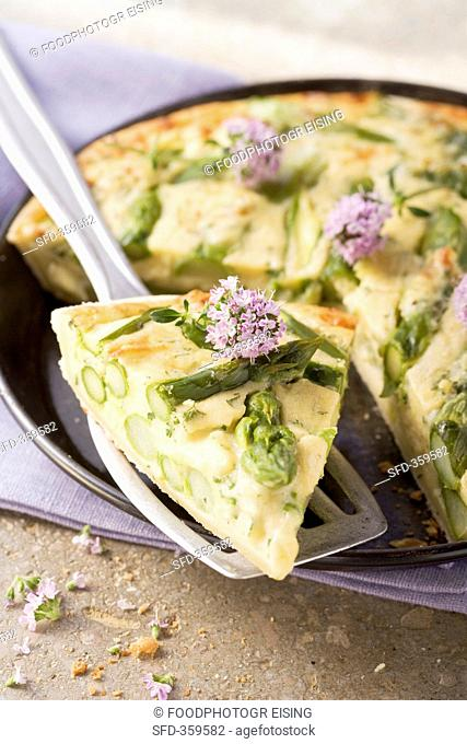 Asparagus and potato tart with spring herbs