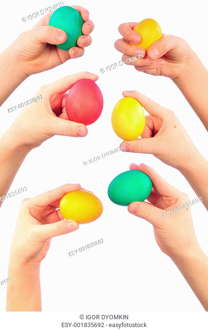 hands and easter eggs