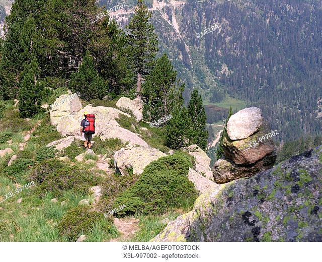 Mountain hiker make trekking in Coth of Sendrosa  Aiguestortes National Park  Pyrenees  Lerida  Catalonia  Spain