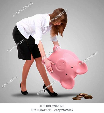 Collage with a piggybank and young business man