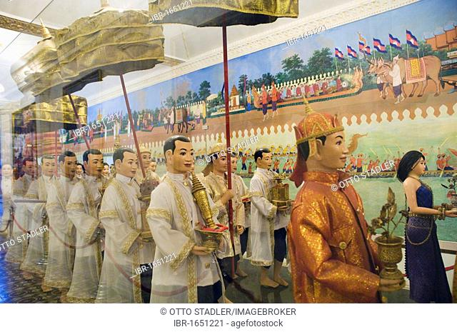 Model of the procession of the crown jewels in the Royal Palace, Phnom Penh, Cambodia, Indochina, Southeast Asia, Asia