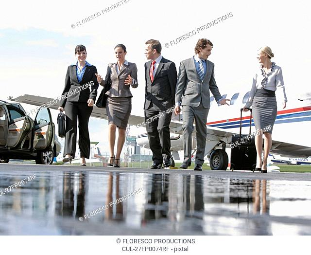 Business executives on the go