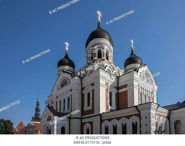 Ornate church under blue sky, Tallin, Harju County, Estonia