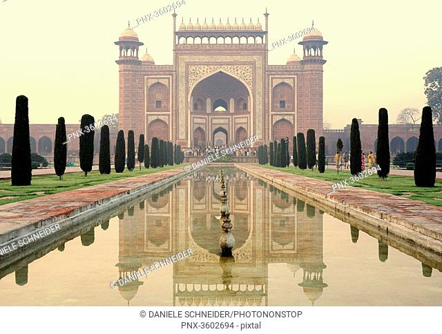 India, Agra, Taj Mahal Complex, red sandstone entrance