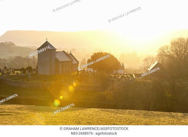 A view at sunrise of Saint David's Church in the tiny hamlet of Llnddewi'r Cwm, Powys, Wales, UK