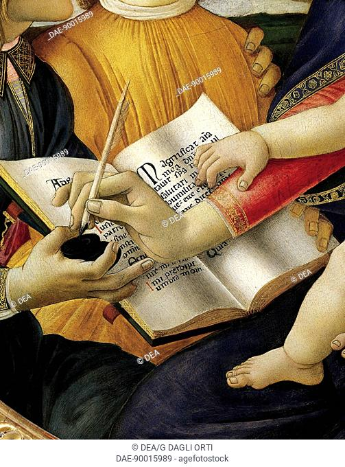 Book and the act of writing, detail from Madonna and Child with angels or The Madonna of the Magnificat, 1480-1489, by Sandro Botticelli (1445-1510)