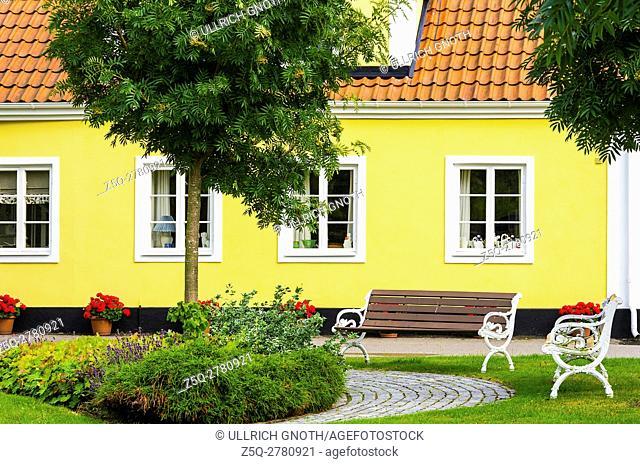 Yellow residential town house in Viken, Skane County, Sweden