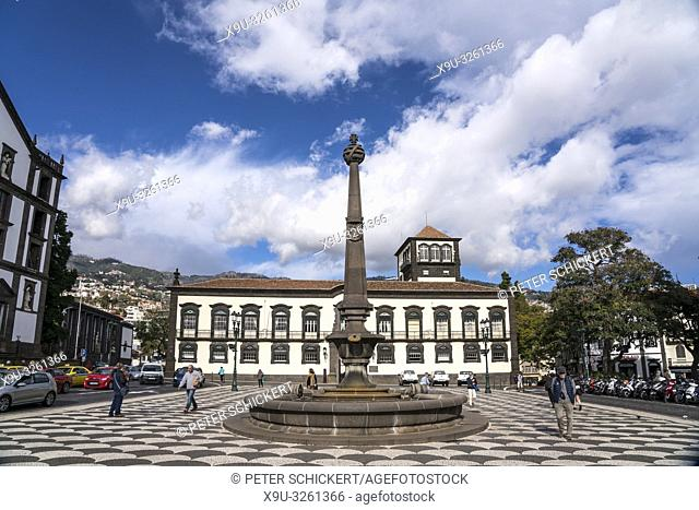 Funchal City Hall and fountain on Praca do Municipio square, Funchal, Madeira, Portugal, Europe