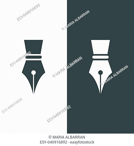 Fountain pen icon on dark and white background
