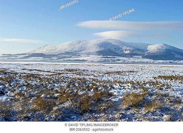 View across frozen Solway at Caerlaverock National Nature Reserve near Dumfries, Solway Firth, Scotland, United Kingdom, Europe