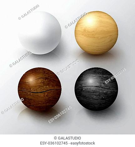 Set of Realistic 3D White Ball and Wooden Sphere. Balls on white background with reflection. Design Template for Mock Up