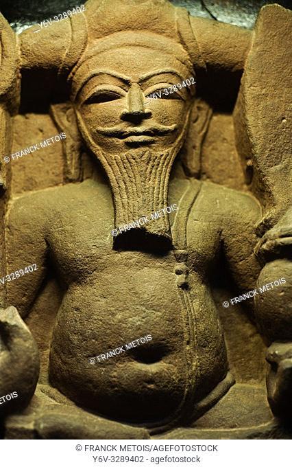 Sculpture representing the hindu god Brahma ( 11° century) at the Mahant Ghasidas Memorial Museum ( Raipur, India)