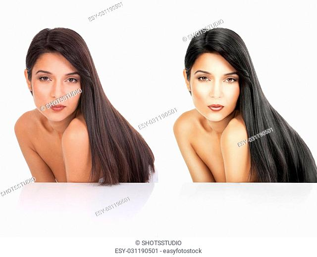 a beauty portrait before after white background. she is bent forward and her long, black hair flows on her back