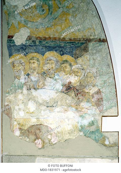 Feast in Levi's House, by Unknown Artist, 13th Century, fresco. Italy, Genoa, Liguria, Parrish Church in Saint Mary of the Cella. Detail